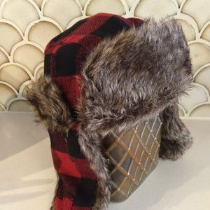 Other - Unisex Plaid Trapper Hat Red and Black Winter